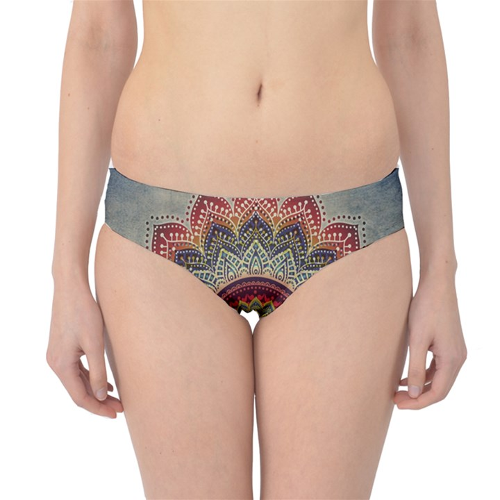 Folk Art Lotus Mandala Dirty Blue Red Hipster Bikini Bottoms