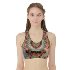 Folk Art Lotus Mandala Dirty Blue Red Sports Bra with Border