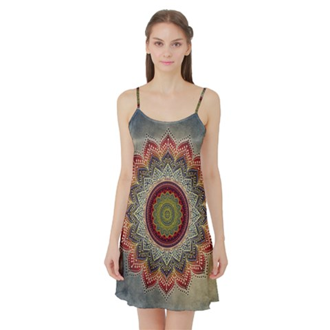 Folk Art Lotus Mandala Dirty Blue Red Satin Night Slip