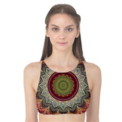 Folk Art Lotus Mandala Dirty Blue Red Tank Bikini Top