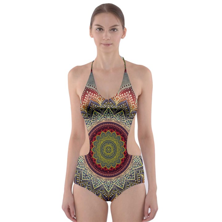 Folk Art Lotus Mandala Dirty Blue Red Cut-Out One Piece Swimsuit