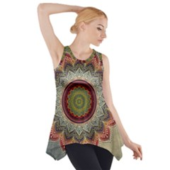 Folk Art Lotus Mandala Dirty Blue Red Side Drop Tank Tunic