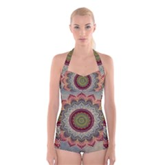 Folk Art Lotus Mandala Dirty Blue Red Boyleg Halter Swimsuit