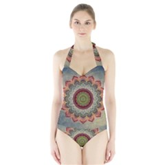 Folk Art Lotus Mandala Dirty Blue Red Halter Swimsuit