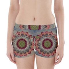 Folk Art Lotus Mandala Dirty Blue Red Boyleg Bikini Wrap Bottoms