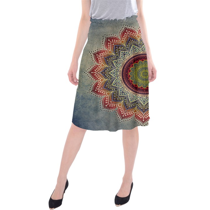 Folk Art Lotus Mandala Dirty Blue Red Midi Beach Skirt