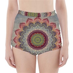 Folk Art Lotus Mandala Dirty Blue Red High-Waisted Bikini Bottoms