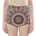 Folk Art Lotus Mandala Dirty Blue Red High-Waisted Bikini Bottoms View1
