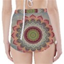 Folk Art Lotus Mandala Dirty Blue Red High-Waisted Bikini Bottoms View2