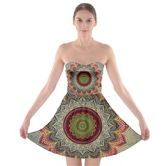 Folk Art Lotus Mandala Dirty Blue Red Strapless Bra Top Dress