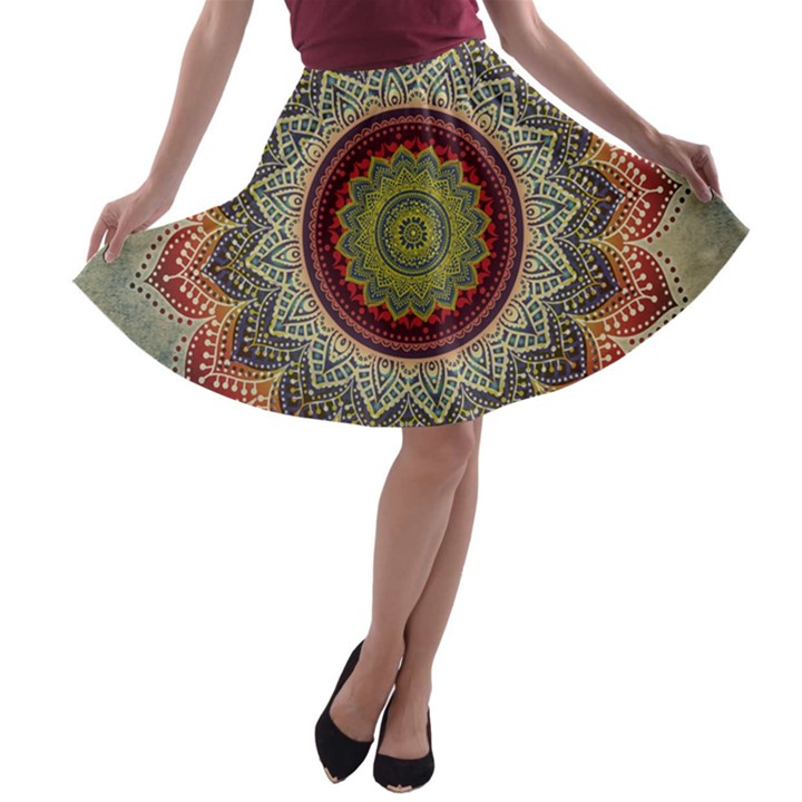 Folk Art Lotus Mandala Dirty Blue Red A-line Skater Skirt