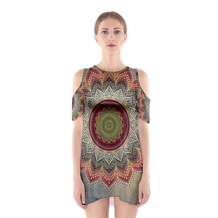 Folk Art Lotus Mandala Dirty Blue Red Cutout Shoulder Dress