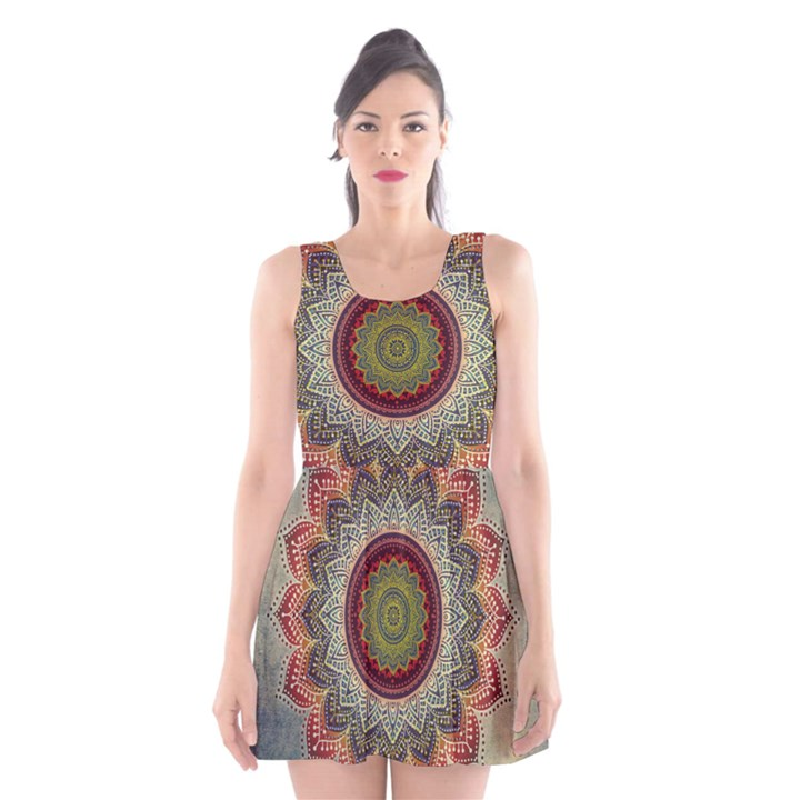 Folk Art Lotus Mandala Dirty Blue Red Scoop Neck Skater Dress