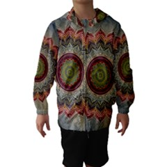 Folk Art Lotus Mandala Dirty Blue Red Hooded Wind Breaker (Kids)