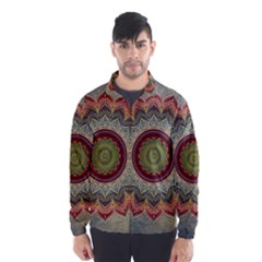 Folk Art Lotus Mandala Dirty Blue Red Wind Breaker (men)
