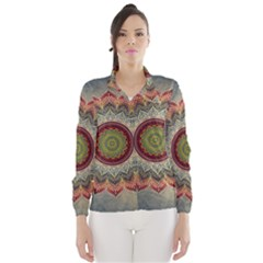 Folk Art Lotus Mandala Dirty Blue Red Wind Breaker (women)