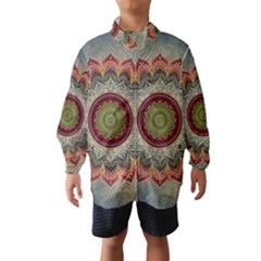 Folk Art Lotus Mandala Dirty Blue Red Wind Breaker (kids)