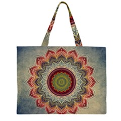 Folk Art Lotus Mandala Dirty Blue Red Zipper Large Tote Bag