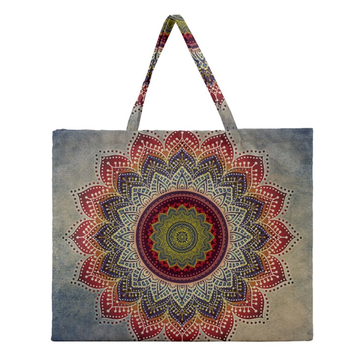 Folk Art Lotus Mandala Dirty Blue Red Zipper Large Tote Bag