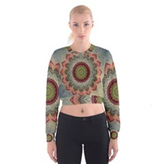 Folk Art Lotus Mandala Dirty Blue Red Women s Cropped Sweatshirt