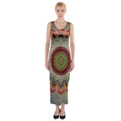Folk Art Lotus Mandala Dirty Blue Red Fitted Maxi Dress