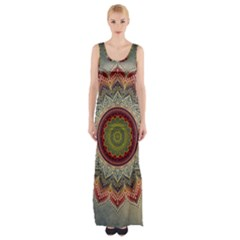 Folk Art Lotus Mandala Dirty Blue Red Maxi Thigh Split Dress