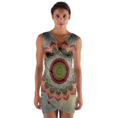 Folk Art Lotus Mandala Dirty Blue Red Wrap Front Bodycon Dress