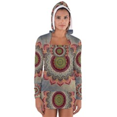 Folk Art Lotus Mandala Dirty Blue Red Women s Long Sleeve Hooded T Shirt