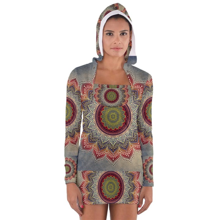 Folk Art Lotus Mandala Dirty Blue Red Women s Long Sleeve Hooded T-shirt