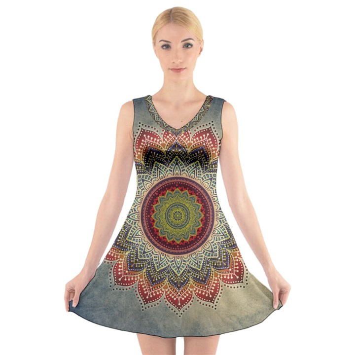 Folk Art Lotus Mandala Dirty Blue Red V-Neck Sleeveless Skater Dress