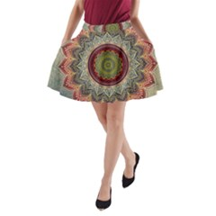 Folk Art Lotus Mandala Dirty Blue Red A Line Pocket Skirt