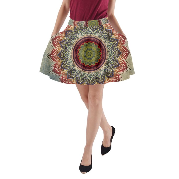 Folk Art Lotus Mandala Dirty Blue Red A-Line Pocket Skirt