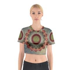 Folk Art Lotus Mandala Dirty Blue Red Cotton Crop Top