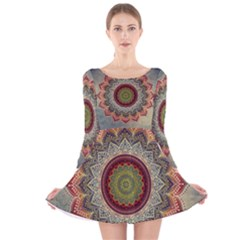 Folk Art Lotus Mandala Dirty Blue Red Long Sleeve Velvet Skater Dress