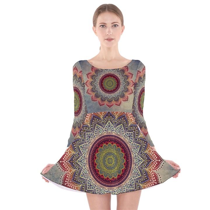 Folk Art Lotus Mandala Dirty Blue Red Long Sleeve Velvet Skater Dress
