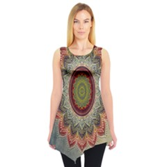 Folk Art Lotus Mandala Dirty Blue Red Sleeveless Tunic