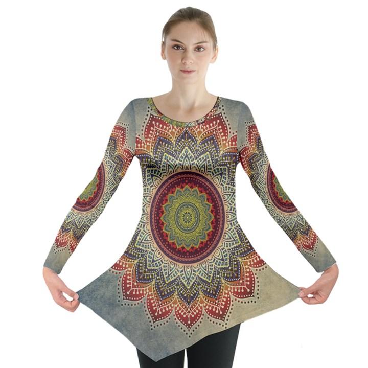 Folk Art Lotus Mandala Dirty Blue Red Long Sleeve Tunic