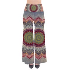 Folk Art Lotus Mandala Dirty Blue Red Pants
