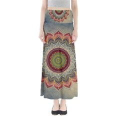 Folk Art Lotus Mandala Dirty Blue Red Maxi Skirts