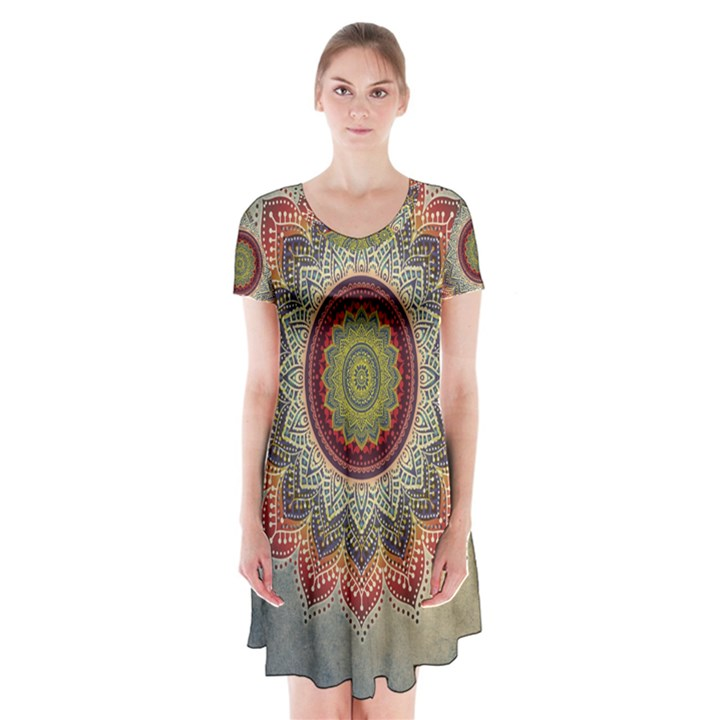 Folk Art Lotus Mandala Dirty Blue Red Short Sleeve V-neck Flare Dress
