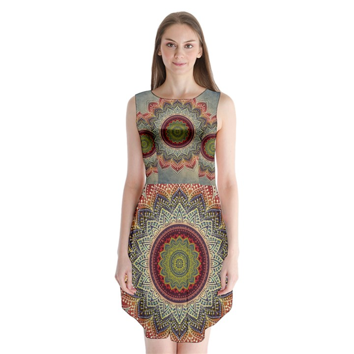 Folk Art Lotus Mandala Dirty Blue Red Sleeveless Chiffon Dress