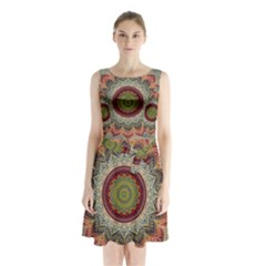 Folk Art Lotus Mandala Dirty Blue Red Sleeveless Chiffon Waist Tie Dress
