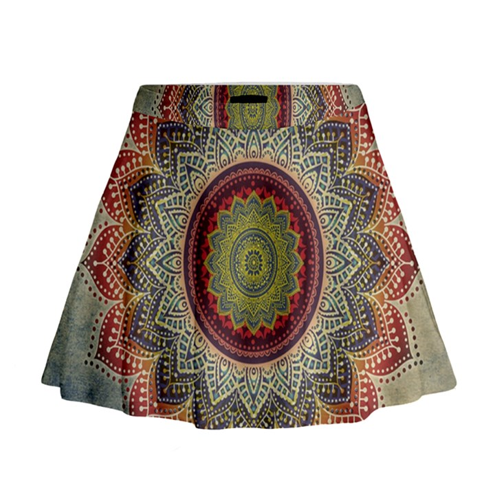 Folk Art Lotus Mandala Dirty Blue Red Mini Flare Skirt