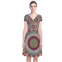 Folk Art Lotus Mandala Dirty Blue Red Short Sleeve Front Wrap Dress