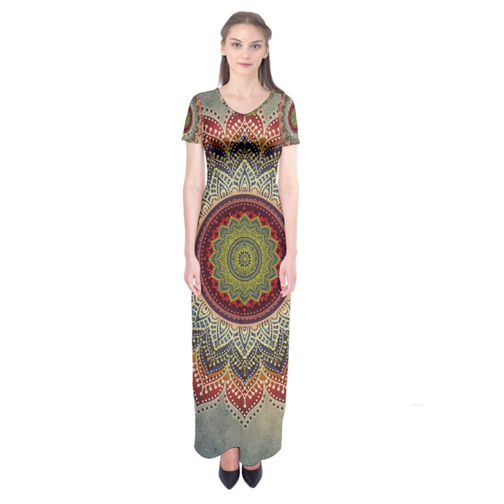 Folk Art Lotus Mandala Dirty Blue Red Short Sleeve Maxi Dress
