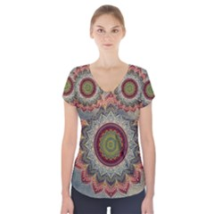 Folk Art Lotus Mandala Dirty Blue Red Short Sleeve Front Detail Top