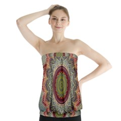 Folk Art Lotus Mandala Dirty Blue Red Strapless Top