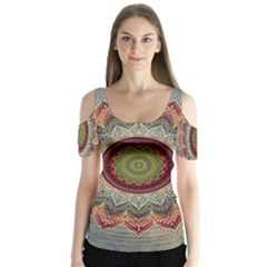 Folk Art Lotus Mandala Dirty Blue Red Butterfly Sleeve Cutout Tee