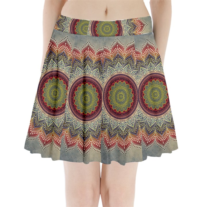 Folk Art Lotus Mandala Dirty Blue Red Pleated Mini Skirt