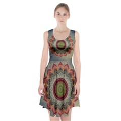 Folk Art Lotus Mandala Dirty Blue Red Racerback Midi Dress
